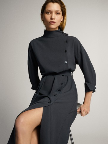 BUTTONED HIGH NECK DRESS WITH BELT