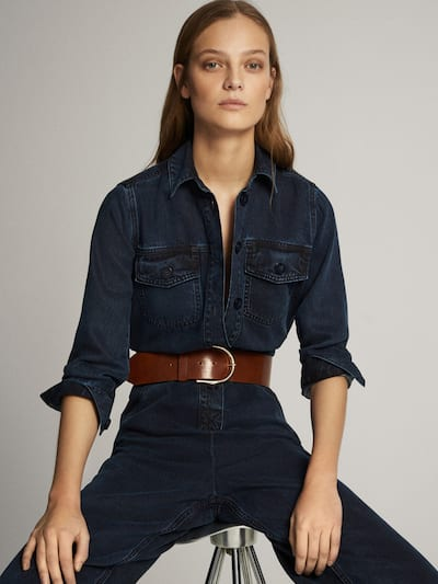 마시모두띠 Massimo Dutti Long sleeve lyocell jumpsuit with belt,DARK BLUE