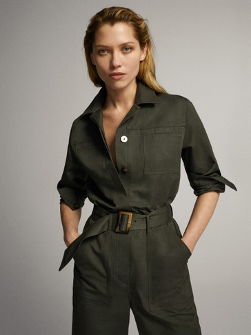 COTTON LINEN JUMPSUIT WITH BELT