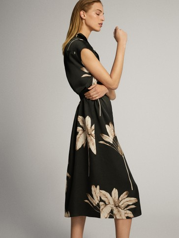 PALM LEAF PRINT BLACK DRESS