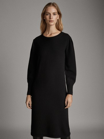 BLACK WOOL DRESS WITH PUFF SLEEVES