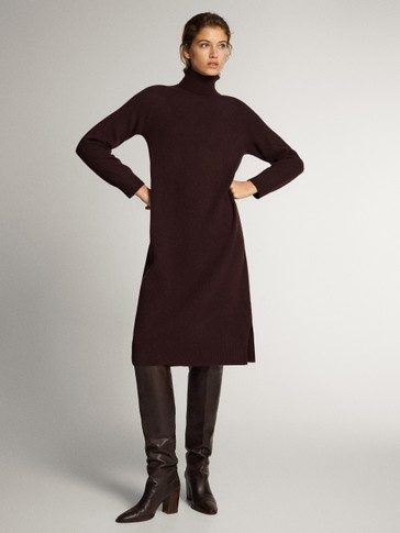 HIGH NECK CASHMERE WOOL DRESS
