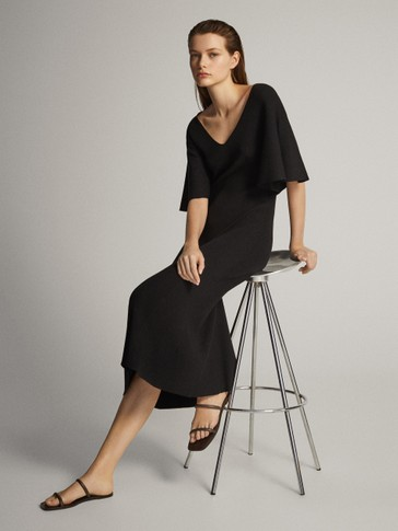 KNIT DRESS WITH BATWING SLEEVES