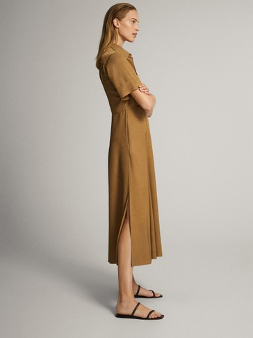 FLOWING DRESS WITH POLO COLLAR