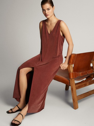 V-NECK CUPRO DRESS