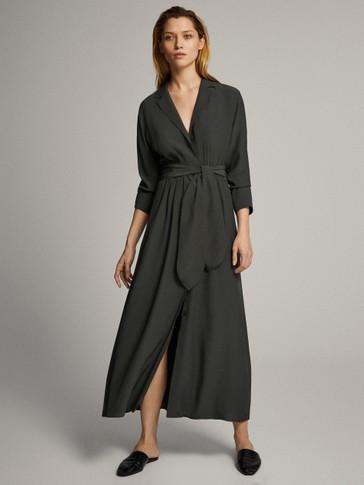 벨트 디테일 셔츠 드레스