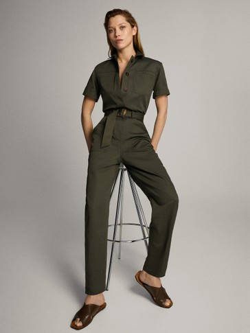 SHORT SLEEVE COTTON LINEN JUMPSUIT