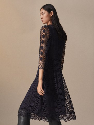NAVY GUIPURE LACE DRESS
