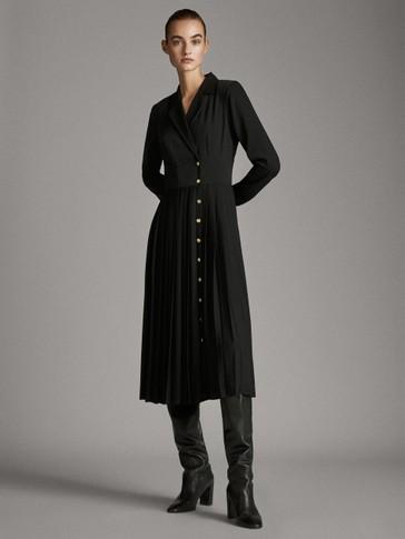 블랙 플리츠 디테일 셔츠 드레스