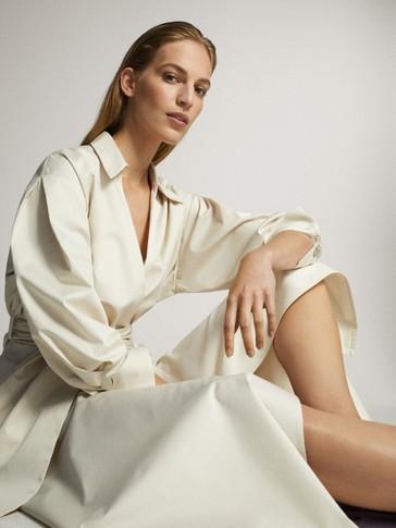 POPLIN SHIRT DRESS WITH BELT