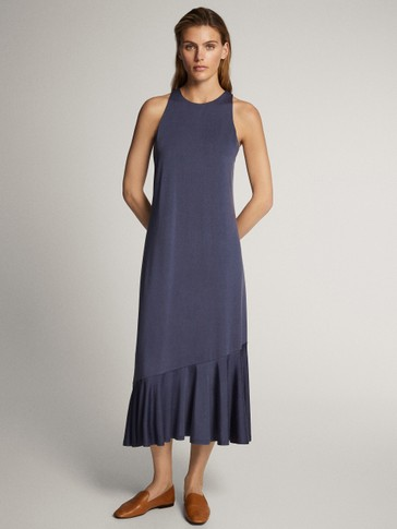 CUPRO DRESS WITH RUFFLED HEM