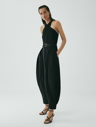LIMITED EDITION BLACK JUMPSUIT WITH CRISS-CROSS STRAPS