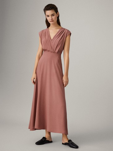 DRESS WITH PLEATED SHOULDERS