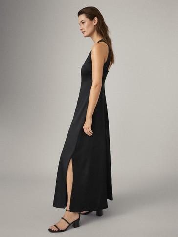블랙 오픈 백 드레스