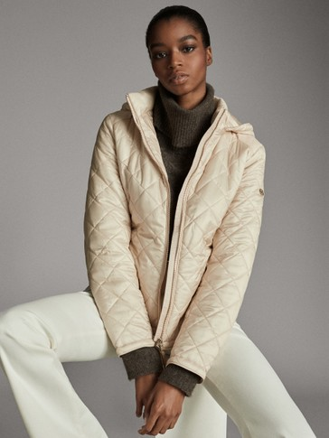 QUILTED JACKET WITH REMOVABLE HOOD