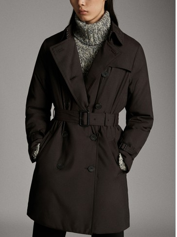 BLACK SLIGHTLY QUILTED TRENCH COAT