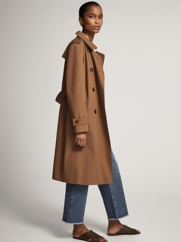 TRENCH COAT WITH MOUTON COLLAR