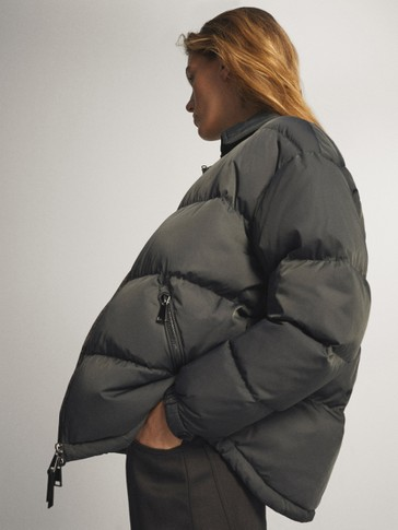 Oversized down jacket with shirt collar