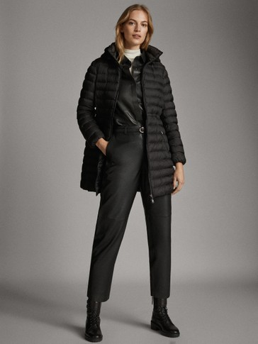 LONG BLACK QUILTED JACKET