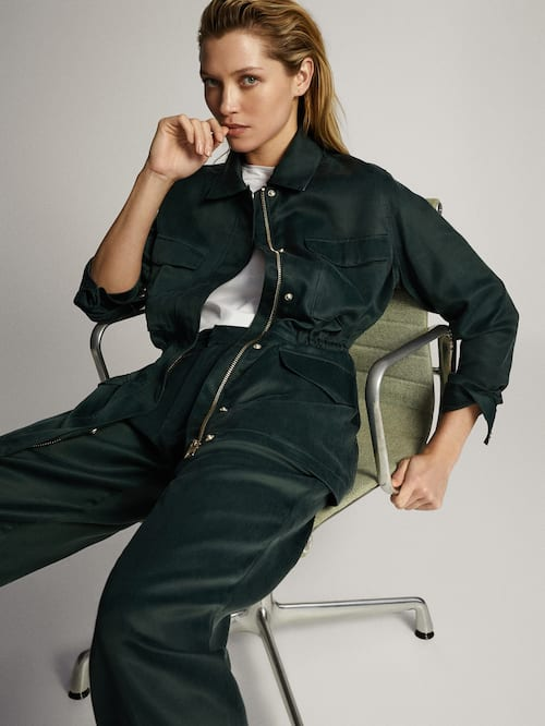 마시모두띠 Massimo Dutti Loose-fitting safari jacket,GREEN