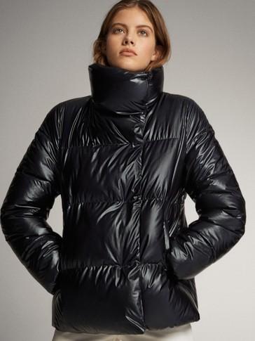 Laminated puffer jacket