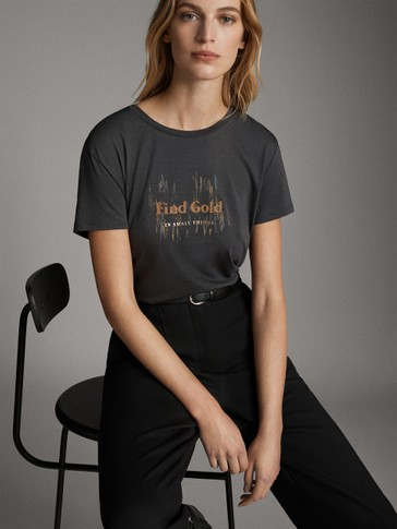 'FIND GOLD' LYOCELL AND COTTON T-SHIRT