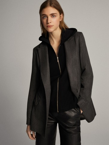 Textured hooded black cotton jacket