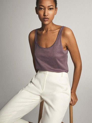 100% LINEN STRAPPY TOP