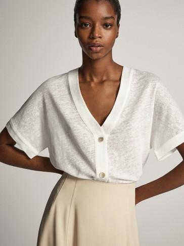 100% linen buttoned cardigan