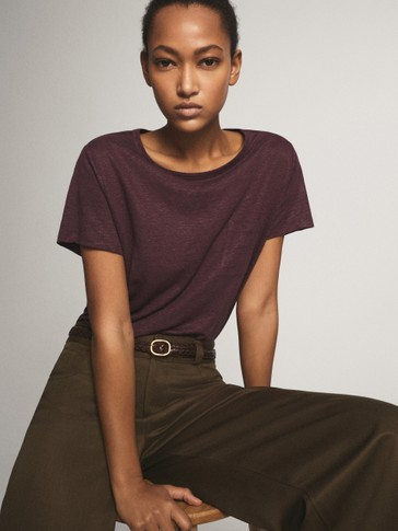 100% LINEN T-SHIRT WITH POCKET