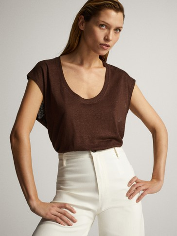Scoop neck linen top
