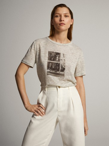 CITY PRINT LINEN T-SHIRT
