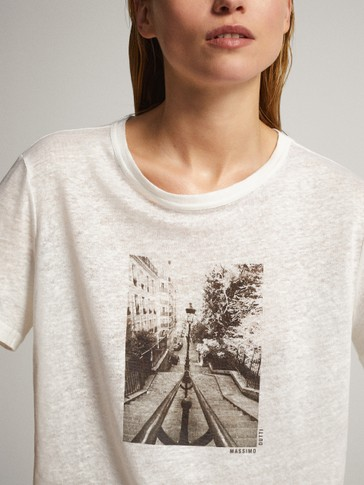 Street light print linen t-shirt
