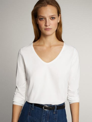 PLAIN V-NECK COTTON LONG SLEEVE T-SHIRT