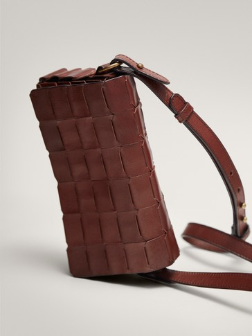 BRAIDED LEATHER CROSSBODY BAG