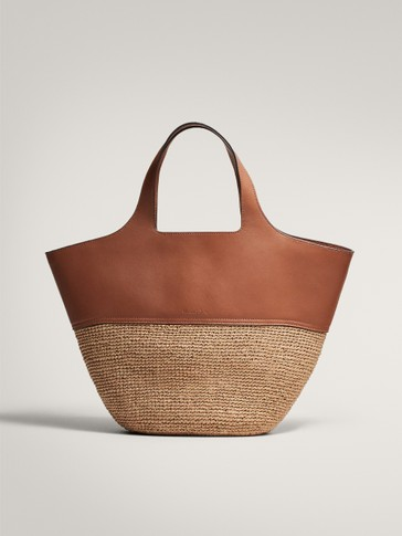 CONTRAST LEATHER RAFFIA BASKET BAG