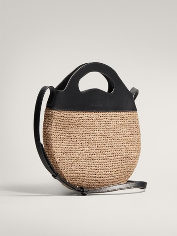 CONTRAST LEATHER RAFFIA CROSSBODY BAG