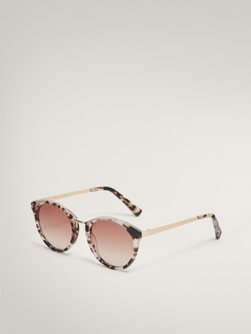 ROUND BLACK AND WHITE TORTOISESHELL SUNGLASSES