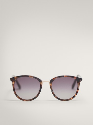 TORTOISESHELL MOTHER-OF-PEARL SUNGLASSES WITH METAL BRIDGE