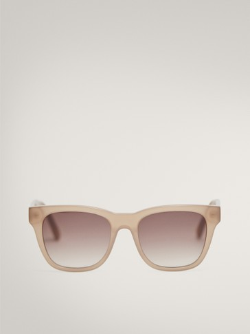 SQUARE BEIGE RESIN SUNGLASSES