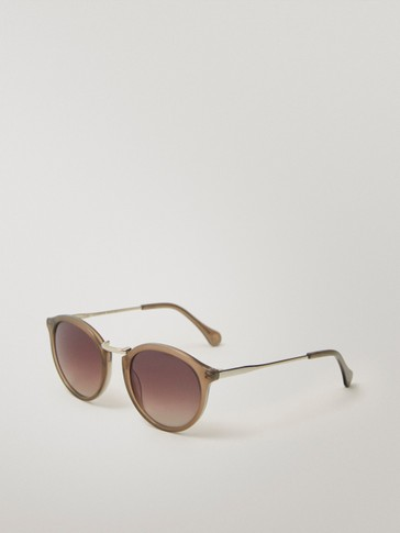 ROUND TAUPE SUNGLASSES WITH A METAL BRIDGE