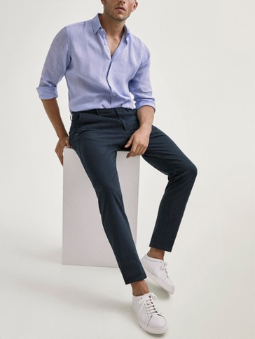 SLIM FIT COTTON HERRINGBONE TROUSERS