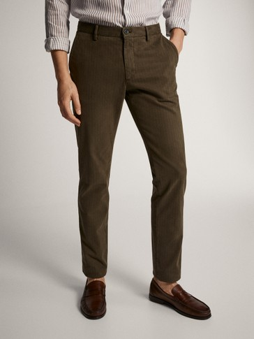 PANTALONI SLIM FIT SPIGATI IN COTONE