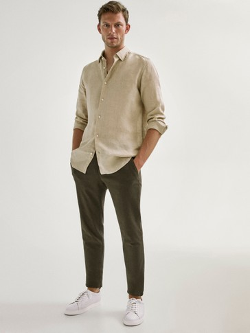 SLIM FIT TWILL CHINO TROUSERS
