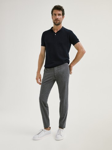 SLIM FIT MICRO CHECK COTTON TROUSERS