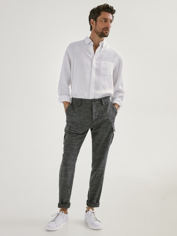 SLIM FIT TEXTURED COTTON CARGO TROUSERS