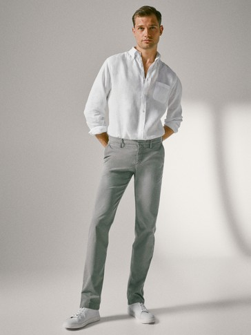 REGULAR FIT COTTON TWILL TROUSERS