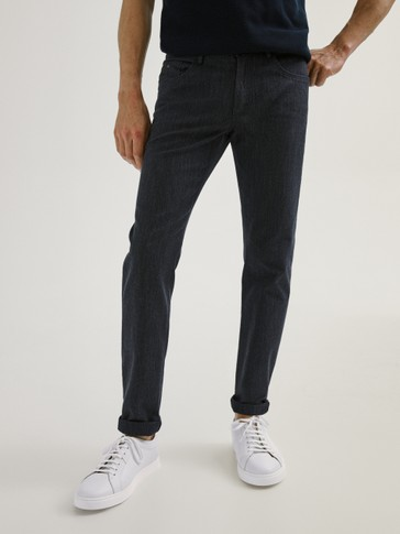SLIM FIT DENIM-EFFECT TEXTURED MELANGE TROUSERS