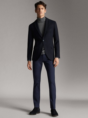 SLIM FIT DENIM-EFFECT HEATHERED TROUSERS