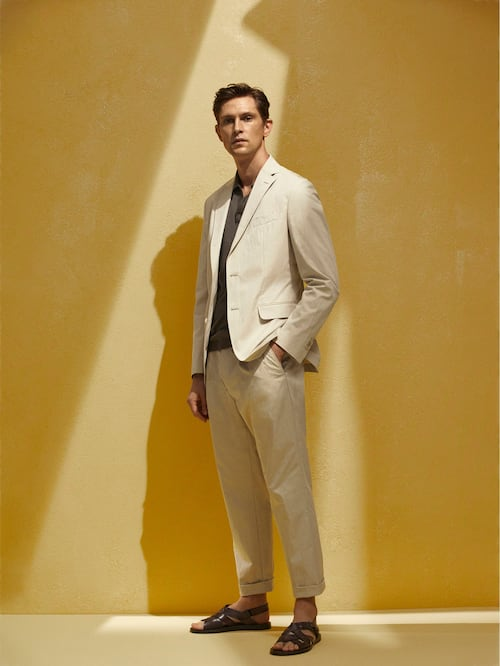 마시모두띠 Massimo Dutti LIMITED EDITION LEISURE FIT TECHNICAL CHINOS,CREAM